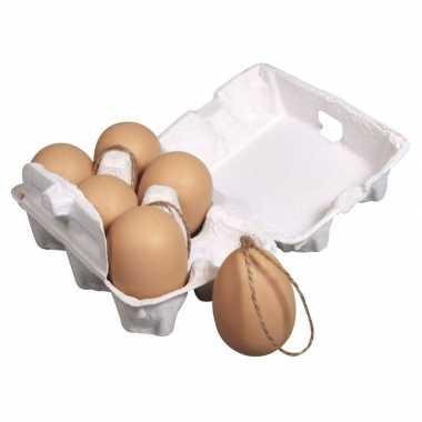 6 plastic eieren met hanger