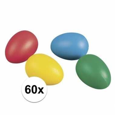 60 plastic paaseieren in leuke kleuren