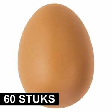 60x bruin ei plastic 6 cm