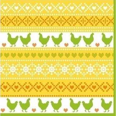 60x pasen thema feest servetjes 33 x 33 cm kip print geel/oranje/groe