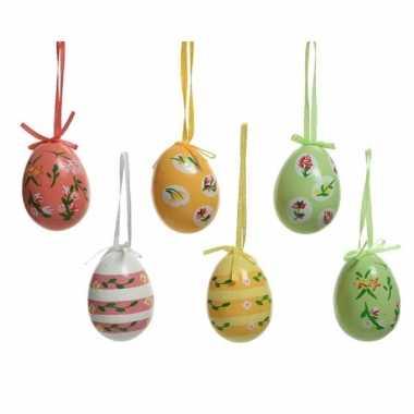 6x paastakken decoratie eieren/eitjes 6 cm in vele kleuren en bloem d