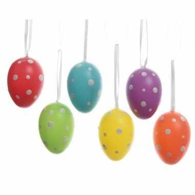 6x paastakken decoratie eieren/eitjes 9 cm in vele kleuren