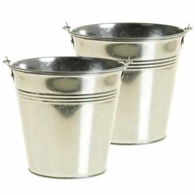 6x stuks zinken emmertje/bloempot zilver 16 cm hoog