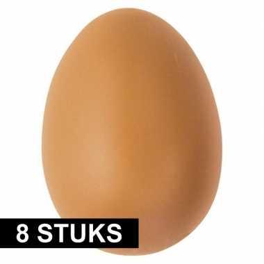 8x bruin ei plastic 6 cm