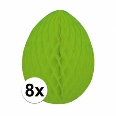 8x groene decoratie paasei 20 cm brandvertragend