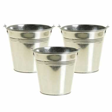 8x stuks zinken emmertje/bloempot zilver 9 cm hoog