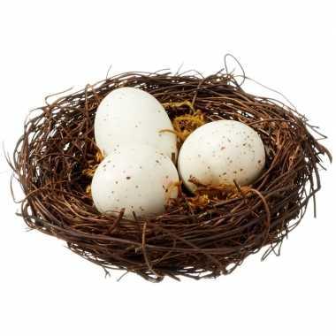 Decoratie vogelnestje met 3 eieren