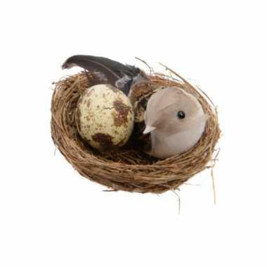 Decoratie vogelnestje met een vogel en ei 7 x 7 cm