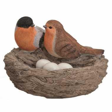 Decoratie vogelnestje met vogels en eitjes oranje