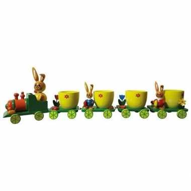 Decoratief paas treintje met eierdoppen