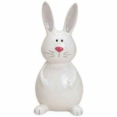 Dieren beeld wit zittend paashaas/konijn 18 cm