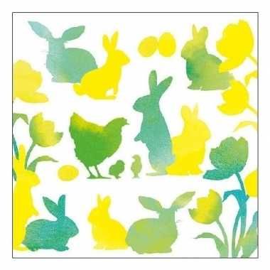 Feest servetten pasen groen/geel 33 x 33 cm