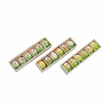 Gekleurde decoratie paaseieren in doosje zes stuks