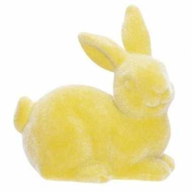 Gele deco hazen/konijnen voor pasen 6 cm