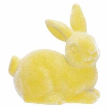 Gele deco hazen/konijnen voor pasen 9 cm