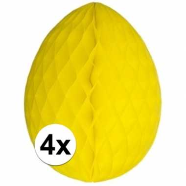 Gele decoratie paaseieren 30 cm brandvertragend 4 stuks