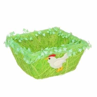 Gras vierkant decoratie mandje voor paaseieren