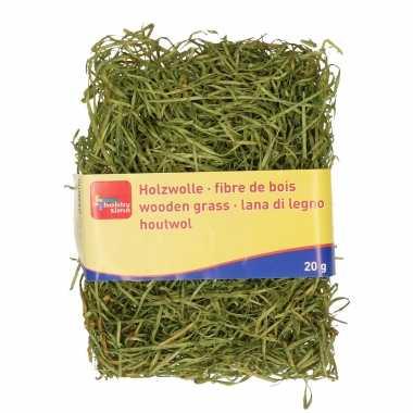 Groen kleur houtwol 20 gram vulmateriaal/vulling