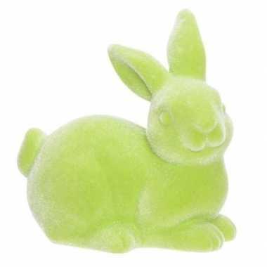 Groene deco hazen/konijnen voor pasen 9 cm