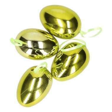 Groene metallic paaseieren 4 stuks