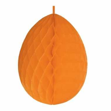 Hangdecoratie honeycomb paasei oranje van papier 30 cm