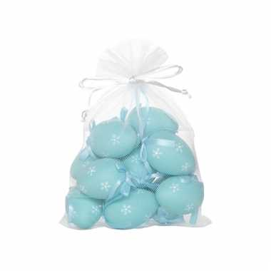 Lichtblauwe plastic eieren 12 stuks