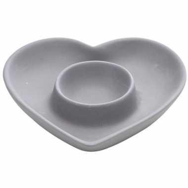 Ontbijt eierdopje grijs hart 12 cm