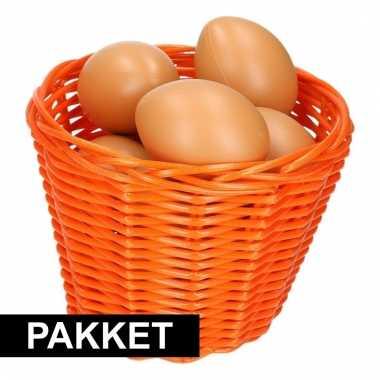 Oranje paasmandje met eieren 14 cm