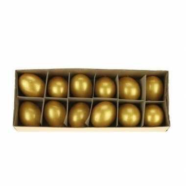 Paas decoratie kippen ei goud 12 stuks