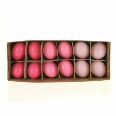 Paas decoratie kippen ei roze 12 stuks