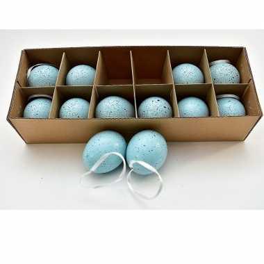 Paas hangdecoratie kippen ei blauw 12 stuks