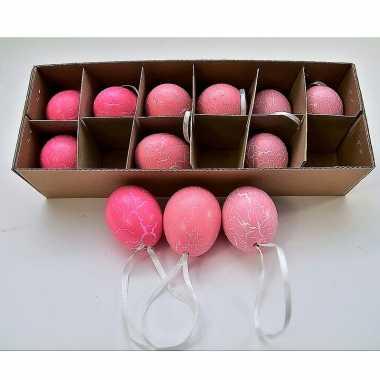 Paas hangdecoratie kippen ei roze 12 stuks