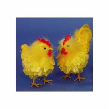 Paasdecoratie kip en haan geel