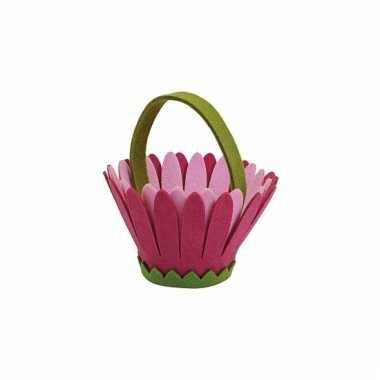 Paaseieren mandje roze bloemen model