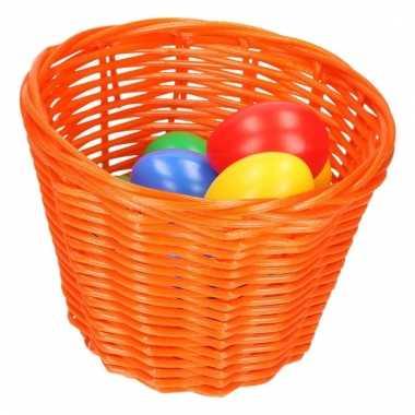 Paaseieren zoeken oranje mandje met gekleurde eitjes 14 cm