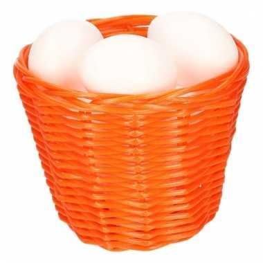 Paasmandje met witte plastic eieren 14cm 10103998