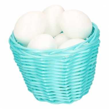 Paasmandje met witte plastic eieren 14cm 10104002