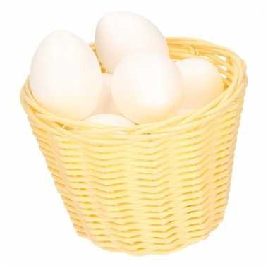Paasmandje met witte plastic eieren 14cm