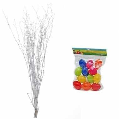 Paastakken wit 75 cm met 12 gekleurde paaseieren