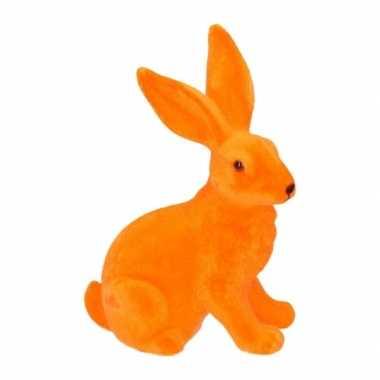 Paasviering paashaas oranje decoratie 23 cm