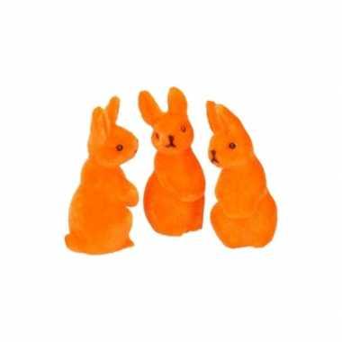 Paasviering paashaas oranje decoratie 5 cm