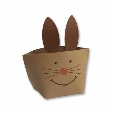 Papieren decoratie mandje bruin konijn voor pasen 20 cm