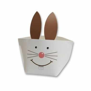 Papieren decoratie mandje wit konijn voor pasen 20 cm