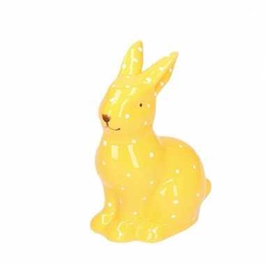 Pasen decoratie haasje/konijntje beeld geel 10 cm