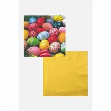 Pasen decoratie voor op tafel wit/geel/gekleurd