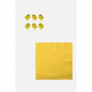 Pasen decoratie voor op tafel wit/geel