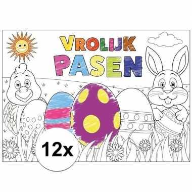 Pasen kleurplaat/ placemats 12 stuks voor paasontbijt/paaslunch