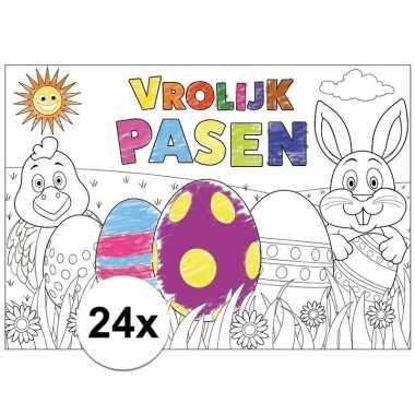 Pasen kleurplaat/ placemats 24 stuks voor paasontbijt/paaslunch