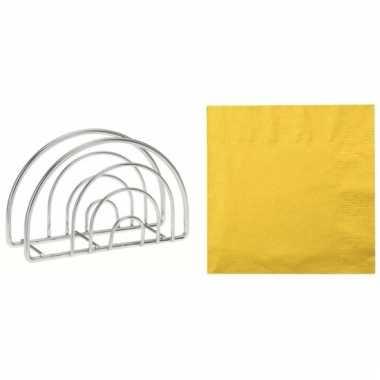 Pasen tafeldecoratie houder met gele servetten