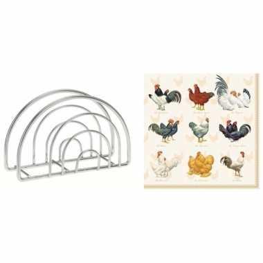 Pasen tafeldecoratie houder met kippen en hanen opdruk servetten
